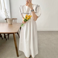 Dress Summer 2021 Khaki, white, black Average size longuette singleton  Short sleeve Doll Collar Loose waist Solid color other other puff sleeve 18-24 years old Other / other
