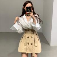 Fashion suit Autumn 2020 Average size Blue shirt, white shirt, Khaki Skirt, black skirt 18-25 years old