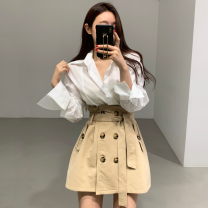 Fashion suit Autumn 2020 Average size Blue shirt, white shirt, Khaki Skirt, black skirt 18-25 years old