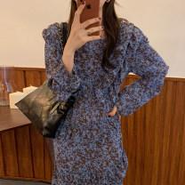 Dress Spring 2021 Decor S, M singleton  Long sleeves commute V-neck Decor 18-24 years old Other / other Korean version