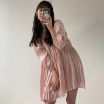 Dress Spring 2021 Pink, black, apricot Average size longuette singleton  Long sleeves commute Crew neck Loose waist Solid color Socket A-line skirt routine 18-24 years old Type A Other / other Korean version 51% (inclusive) - 70% (inclusive) polyester fiber