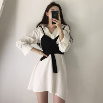 Dress Autumn of 2019 Dress + Beige breast wrap, dress + black breast wrap S,M,L Two piece set Short sleeve commute 18-24 years old Other / other Korean version