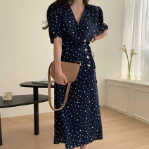 Dress Summer 2021 Picture color Average size longuette singleton  Short sleeve commute V-neck High waist Dot Socket A-line skirt routine 18-24 years old Type A Other / other Korean version printing 81% (inclusive) - 90% (inclusive) Chiffon polyester fiber