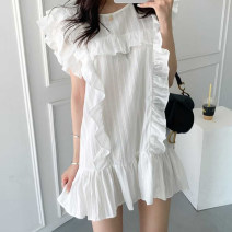 Dress Summer 2020 White, black Average size Middle-skirt singleton  Short sleeve commute Crew neck Loose waist stripe Socket other Flying sleeve Others 18-24 years old Type H Other / other Korean version Ruffles, stitching 71% (inclusive) - 80% (inclusive)