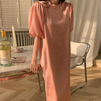 Dress Summer 2021 Picture color Average size longuette singleton  elbow sleeve commute Crew neck Solid color puff sleeve 18-24 years old Other / other Korean version 81% (inclusive) - 90% (inclusive)