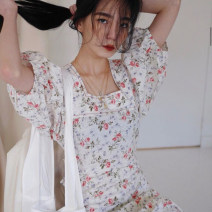 Dress Summer of 2019 milky white Average size longuette commute square neck High waist Broken flowers 18-24 years old Other / other Korean version