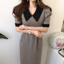 Dress Spring 2020 Picture color S,M,L Mid length dress singleton  Short sleeve commute High waist lattice 18-24 years old Other / other Korean version