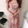Dress Summer 2021 Red, blue, yellow Average size longuette singleton  Short sleeve commute square neck High waist other routine Others 18-24 years old Type A Other / other Korean version Bandage 51% (inclusive) - 70% (inclusive) Chiffon