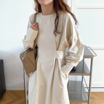 Dress Winter 2020 Apricot, black, red coffee Average size Mid length dress singleton  Long sleeves commute Crew neck High waist Solid color 18-24 years old Other / other Korean version