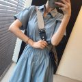 Dress Summer 2021 Khaki, lake blue, Navy Average size longuette singleton  Short sleeve commute Polo collar Solid color Single breasted routine Others 18-24 years old Other / other Korean version Splicing