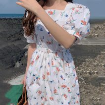 Dress Summer 2021 white Average size longuette singleton  Short sleeve commute square neck Broken flowers puff sleeve Others 18-24 years old Other / other Korean version