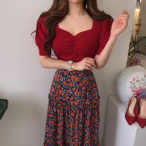 Fashion suit Summer 2021 Average size Red top, black top, red skirt, yellow skirt 18-25 years old Other / other