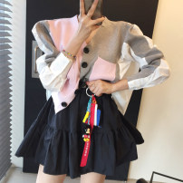 Wool knitwear Autumn 2020 Average size Pink T-shirt, blue T-shirt, skirt Long sleeves Two piece set Cardigan Viscose 31% (inclusive) - 50% (inclusive) Regular routine commute routine Solid color Single breasted Korean version 18-24 years old Other / other