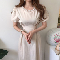 Dress Summer 2021 Picture color Average size longuette singleton  Short sleeve commute Crew neck Solid color puff sleeve Others 18-24 years old Other / other Korean version