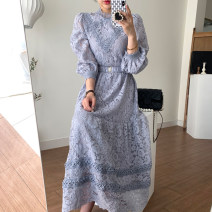Dress Autumn 2020 Pink, blue Average size longuette singleton  Long sleeves commute stand collar puff sleeve Others 18-24 years old Other / other Korean version