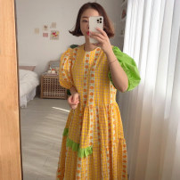Dress Summer 2021 Blue, yellow Average size longuette singleton  Short sleeve commute Crew neck Loose waist Decor puff sleeve 18-24 years old Other / other Korean version