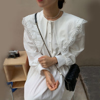 Dress Autumn 2020 White, black Average size longuette singleton  Long sleeves commute Doll Collar Loose waist Solid color Socket Others 18-24 years old Other / other Lotus leaf edge cotton