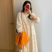 Dress Summer 2021 Picture color Average size longuette singleton  Long sleeves commute Crew neck Loose waist Socket A-line skirt puff sleeve Others 18-24 years old Type A Other / other Korean version printing 81% (inclusive) - 90% (inclusive) brocade cotton