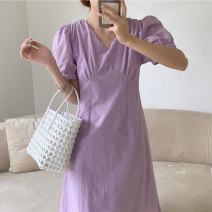 Dress Summer 2021 White, purple, green S,M,L Mid length dress singleton  Short sleeve V-neck High waist Solid color other other puff sleeve 18-24 years old Other / other
