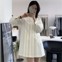 Dress Spring 2021 Apricot, blue Average size Short skirt singleton  Long sleeves commute Crew neck middle-waisted other 18-24 years old Other / other Korean version Frenulum 31% (inclusive) - 50% (inclusive) brocade cotton