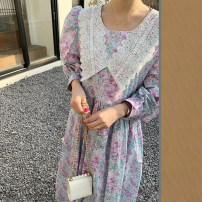 Dress Summer 2021 Decor Average size longuette singleton  Long sleeves commute Crew neck High waist A-line skirt puff sleeve 18-24 years old Type A Other / other Korean version Button Chiffon polyester fiber