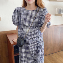 Dress Summer 2021 Plaid skirt Average size longuette singleton  Short sleeve commute Crew neck High waist lattice Socket Big swing puff sleeve Others 18-24 years old Type A Other / other Korean version 31% (inclusive) - 50% (inclusive) other other