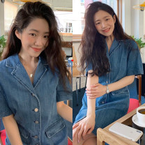 Dress Summer 2021 blue M, L Middle-skirt singleton  Short sleeve commute tailored collar Solid color Single breasted 18-24 years old Other / other Korean version