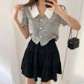 Fashion suit Summer 2021 Choose by choice Plaid top s , Plaid top m , Plaid top L , Black skirt with elastic waist 18-25 years old Other / other