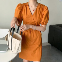 Dress Summer 2020 Orange, blue Average size Middle-skirt singleton  Short sleeve commute V-neck High waist Solid color Socket other puff sleeve Others 18-24 years old Type H Other / other Korean version 71% (inclusive) - 80% (inclusive)