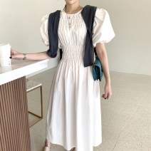 Dress Spring 2021 White, black Average size Short sleeve commute Crew neck Solid color puff sleeve 18-24 years old Other / other Korean version 31% (inclusive) - 50% (inclusive) cotton