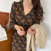 Dress Autumn 2020 Red, yellow Average size Mid length dress singleton  Long sleeves commute V-neck High waist Decor 18-24 years old Other / other Korean version