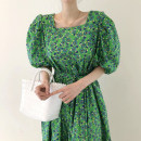 Dress Summer 2021 green Average size Mid length dress other Short sleeve square neck Elastic waist Broken flowers other other puff sleeve Others 18-24 years old Other / other 31% (inclusive) - 50% (inclusive)