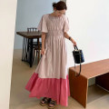 Dress Summer 2021 Pink, black Average size longuette singleton  Short sleeve Crew neck Elastic waist other other Ruffle Skirt pagoda sleeve 18-24 years old Other / other 81% (inclusive) - 90% (inclusive) cotton