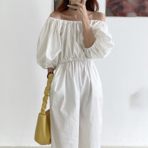 Dress Summer 2020 White, black Average size Mid length dress singleton  elbow sleeve commute One word collar High waist Solid color Socket other bishop sleeve Others 18-24 years old Type H Other / other Korean version