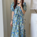 Dress Summer 2021 Pink, blue Average size longuette singleton  Short sleeve commute V-neck High waist Broken flowers Socket Ruffle Skirt puff sleeve Others 18-24 years old Type A Other / other Korean version 51% (inclusive) - 70% (inclusive) other cotton
