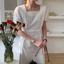 Dress Summer 2021 White, black Average size Mid length dress singleton  Short sleeve commute square neck High waist Solid color puff sleeve 18-24 years old Other / other Korean version