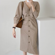 Dress Autumn 2020 Khaki, black S,M,L Mid length dress singleton  Long sleeves commute V-neck High waist Solid color Single breasted other routine Others 18-24 years old Type H Other / other Korean version 71% (inclusive) - 80% (inclusive)