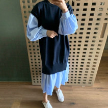 Dress Autumn 2020 White, blue stripe Average size longuette Fake two pieces Long sleeves commute Crew neck Loose waist other Socket other bishop sleeve Others 18-24 years old Type H Other / other Korean version Splicing 71% (inclusive) - 80% (inclusive)