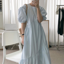 Dress Summer 2021 Apricot, blue Average size longuette singleton  Short sleeve commute Crew neck Solid color puff sleeve 18-24 years old Other / other 31% (inclusive) - 50% (inclusive)