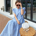 Dress Summer 2020 Cream Beige, Xiaoqing new blue Average size longuette singleton  commute Crew neck High waist Solid color Big swing Flying sleeve 18-24 years old Other / other Korean version