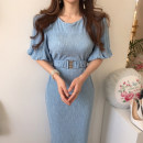 Dress Summer 2020 Sky blue, treasure blue S,M,L longuette singleton  Short sleeve commute Crew neck High waist Solid color Socket One pace skirt bishop sleeve Others 18-24 years old Type A Other / other Korean version