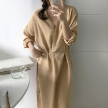 Dress Autumn of 2019 Average size longuette singleton  commute V-neck Solid color 18-24 years old Other / other Korean version