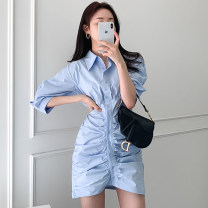 Dress Summer 2021 White, blue S, M Short skirt other three quarter sleeve Polo collar High waist Solid color Single breasted other routine Others 18-24 years old Other / other 71% (inclusive) - 80% (inclusive) other cotton