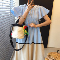 Dress Summer 2021 Blue, Khaki Average size longuette singleton  Short sleeve commute Crew neck High waist Solid color Socket A-line skirt Flying sleeve 18-24 years old Type A Other / other Korean version Splicing 51% (inclusive) - 70% (inclusive) Chiffon polyester fiber