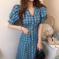 Dress Summer 2021 Rose, blue, black M, L longuette singleton  Short sleeve commute Doll Collar High waist lattice Single breasted other puff sleeve Others 18-24 years old Other / other Korean version
