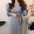 Dress Winter of 2019 Blue, black S, M longuette singleton  Long sleeves commute Crew neck 18-24 years old Korean version