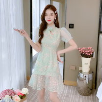Dress Summer 2021 green S,M,L Short skirt singleton  Short sleeve commute stand collar High waist Solid color Socket Ruffle Skirt puff sleeve Others 25-29 years old Type A Recalling Nan lady Embroidery twenty million two hundred and ten thousand three hundred and five - five Lace polyester fiber