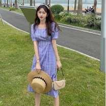 Dress Summer 2021 Orange, blue, white vest S,M,L,XL,2XL longuette singleton  Short sleeve commute square neck High waist lattice Socket Retro