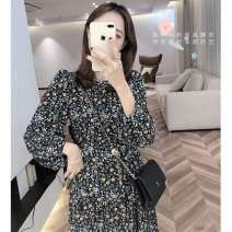 Dress Autumn 2020 Broken flower, white vest S,M,L,XL,2XL Mid length dress singleton  Long sleeves commute Crew neck High waist Broken flowers Socket Others Type A Retro