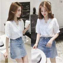 Lace / Chiffon Summer of 2019 White, white vest S,M,L,XL commute Socket singleton  easy Regular V-neck Solid color routine 18-24 years old Other / other Korean version 30% and below